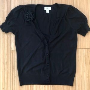 Ann Taylor LOFT Black Short Sleeve Cardigan-Size M